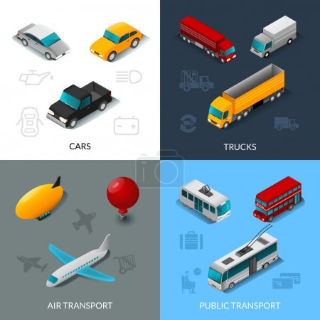 Photo for Transport design concept set with cars trucks air and public transport isometric icons isolated vector illustration - Royalty Free Image