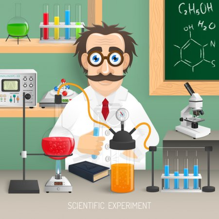 Illustration for Scientist in chemistry lab with realistic scientific experiment equipment vector illustration - Royalty Free Image