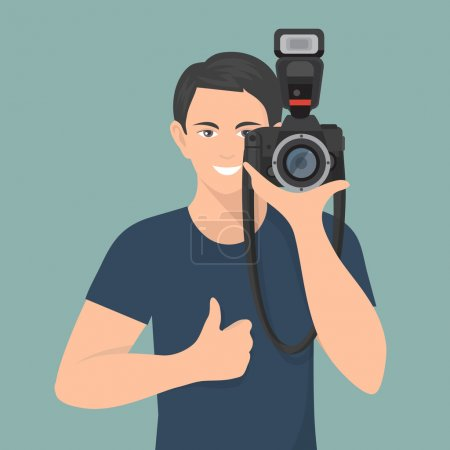 Illustration for Smiling male photographer with professional photo camera flat vector illustration - Royalty Free Image
