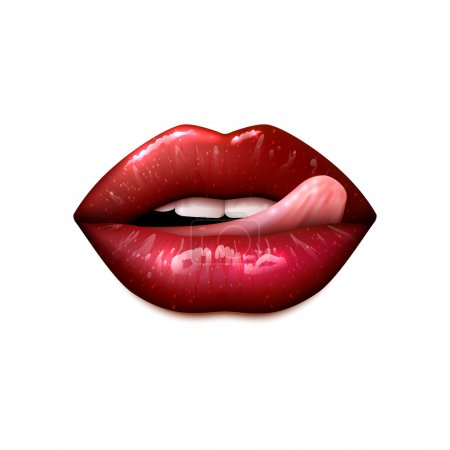 Illustration for Female lips make up with teeth and tongue realistic isolated vector illustration - Royalty Free Image