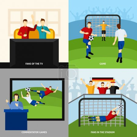 Soccer 4 flat icons square composition