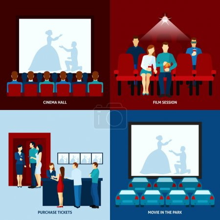 Cinema movie 4 flat icons square