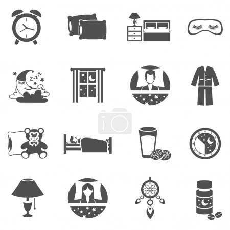 Illustration for Sleep time black icons set with moon window and pajama isolated vector illustration - Royalty Free Image
