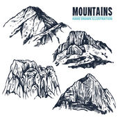 Hand drawn contours of different forms of mountains and its peaks on white background isolated vector illustration