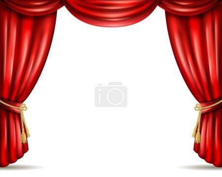 Theater curtain open flat banner illustration