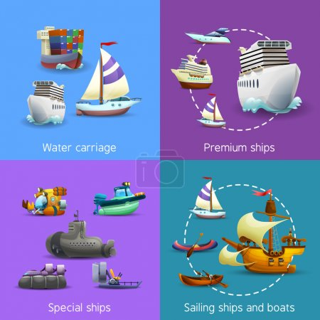 Illustration for Water transport realistic icons set with water carriage premium special and sailing ships isolated vector illustration - Royalty Free Image