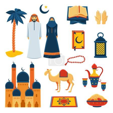 Islam religion flat icons set