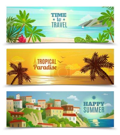 Illustration pour Vacances d'été bannières horizontales serties de réflexion de l'eau pour le coucher de soleil océan plage tropicale plat abstraits vector illustration isolée - image libre de droit