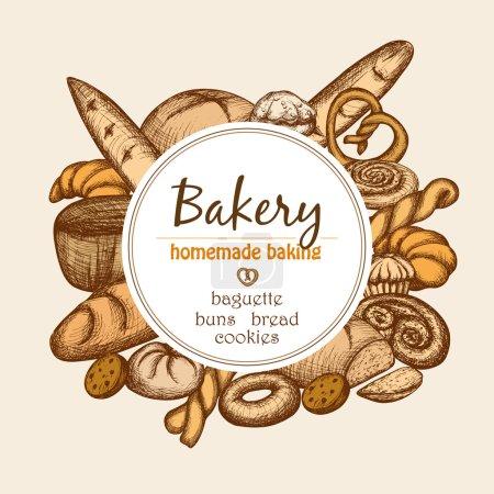Illustration pour Cadre de boulangerie vintage avec pâtisserie dessinée à la main et illustration vectorielle de l'ensemble du pain - image libre de droit