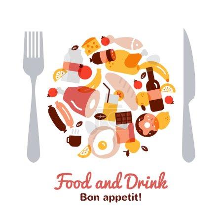 Photo pour Concept de nourriture et boissons en forme de plaque avec fourchette et couteau illustration vectorielle plate - image libre de droit