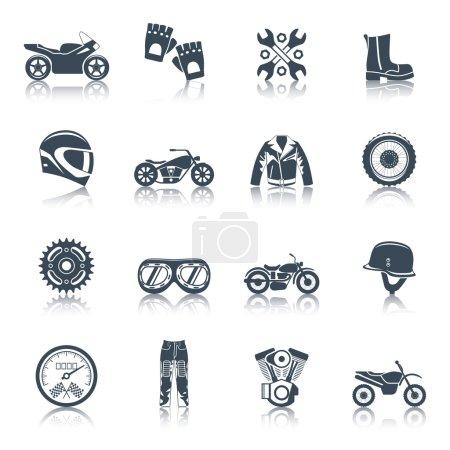 Motorcycle Icons Black Set