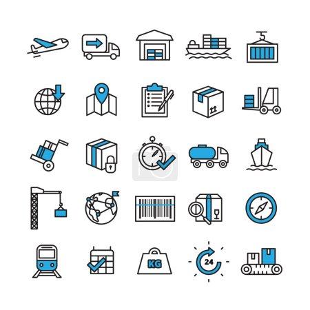 Illustration pour Icônes de ligne de concept logistique et de livraison réglées avec des symboles de temps et de transport illustration vectorielle isolée plate - image libre de droit