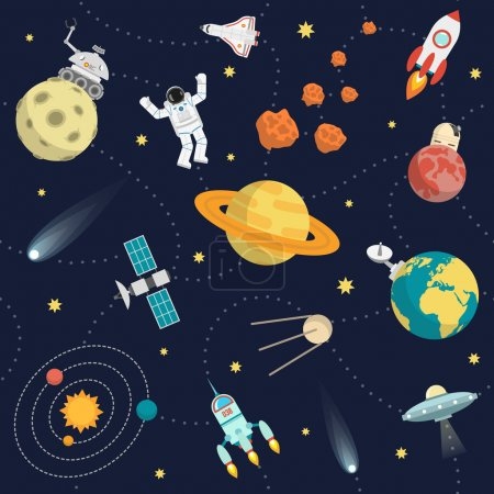 Illustration for Space background flat with stars planets and astronaut vector illustration - Royalty Free Image