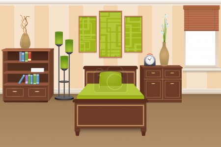 Illustration for Bedroom interior concept with bed bookshelves and wardrobe vector illustration - Royalty Free Image