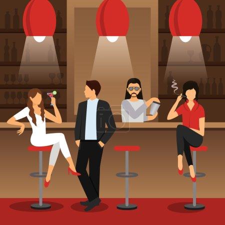 Illustration pour Comptoir de bar avec des hommes et des femmes assis avec des boissons cocktail illustration vectorielle plate - image libre de droit