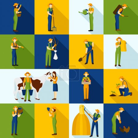 Working  Farmers And Gardeners Color Icons
