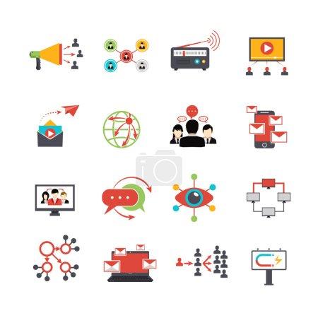 Viral marketing technique plat icônes définies