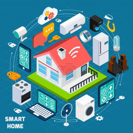 Illustration for Smart home iot internet of things comfort and security innovative technology concept  isometric banner abstract vector illustration - Royalty Free Image