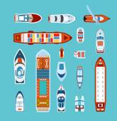 Ships top view flat icons set