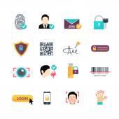 Verification secure methods flat icons set