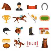 Flat Color Icons Set With Horse Equipment