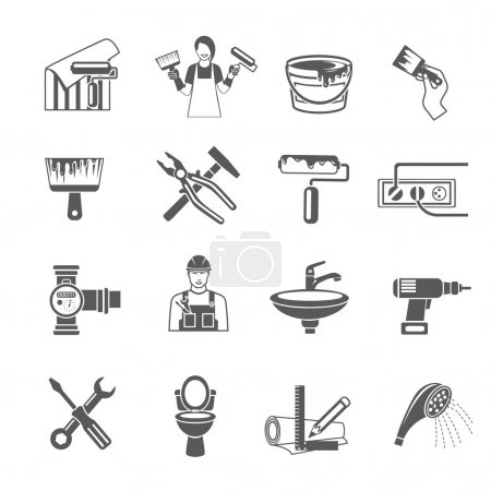 Illustration for Home repair black icons set with housework and renovation tools isolated vector illustration - Royalty Free Image