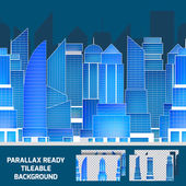 Modern night cityscape tileable parallax background