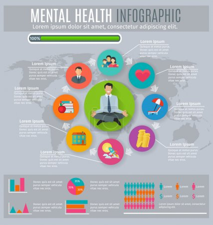 Illustration for Mental health regaining and maintaining stress level main principles circle diagram infographic presentation layout abstract  vector illustration - Royalty Free Image