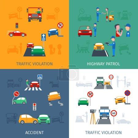 Illustration pour Concept de conception de violation de la circulation avec des accidents de la route icônes plates illustration vectorielle isolée - image libre de droit