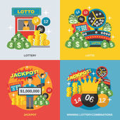 Lottery design concept set with winning combinations flat icons isolated vector illustration