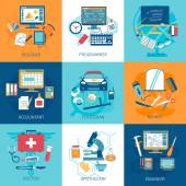 Different profession workspace and equipment concept set isolated vector illustration