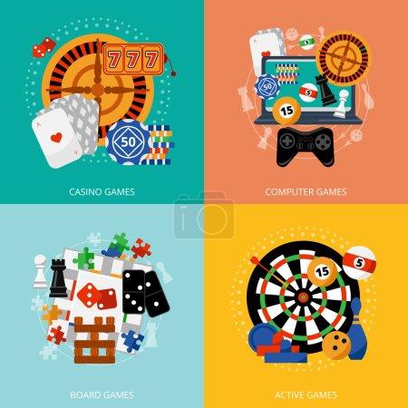 Illustration pour Populaire jeux de hasard de fortune divertissement casino affiche avec 4 plat icônes composition abstrait isolé vecteur illustration - image libre de droit