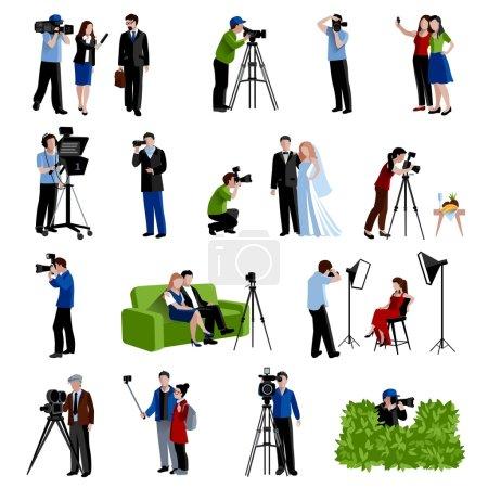 Photographer And Videographer Icons Set