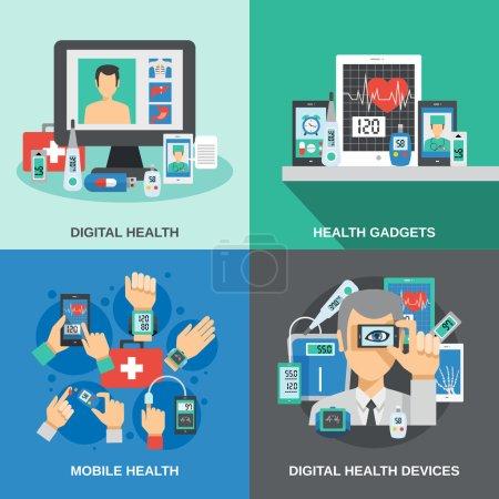 Illustration pour Concept de conception de santé numérique avec diagnostic mobile illustration vectorielle isolée d'icônes plates - image libre de droit