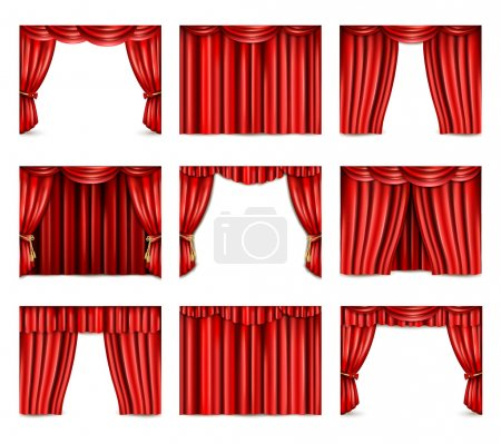 Illustration for Different models of red theatre curtain icons set realistic isolated vector illustration - Royalty Free Image