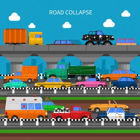 Illustration pour Panne de route et embouteillages arrière-plan avec beaucoup de voitures illustration vectorielle plate - image libre de droit