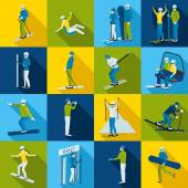Ski Resort  Icons Collection With People