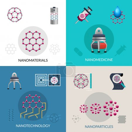 Illustration for Nanotechnology concept of fabrication nanomaterials and nanoparticles 4 flat icons composition square banner abstract isolated vector illustration - Royalty Free Image