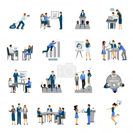 Illustration for Business training and consulting service flat icons set isolated vector illustration - Royalty Free Image