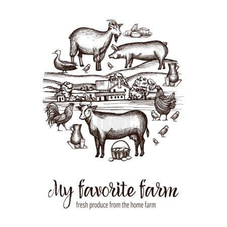 Illustration pour Affiche du marché agricole avec des animaux dessinés à la main nourriture et village sur fond vectoriel illustration - image libre de droit