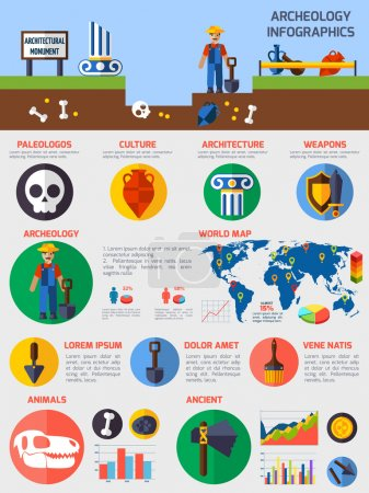 Archeological  Infographics With Elements Of  Ancient Artefacts