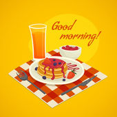 Breakfast design concept with glass of orange  juice plate of pancakes  and  good morning wishing vector illustration