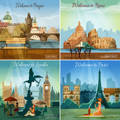 Turisztikai város 4 lapos ikonok összetétele