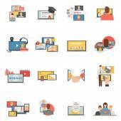 Ploché ikony webinar spolupráce webových sada
