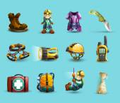 Speleology 3d icons set
