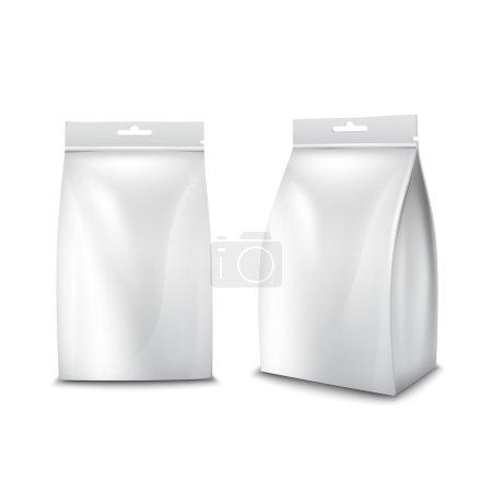 Illustration pour Illustration vectorielle isolée de sac de paquet blanc vierge alimentaire en papier réaliste - image libre de droit