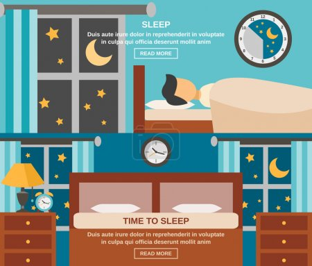 Illustration for Sleep time horizontal banner set with sleeping person isolated vector illustration - Royalty Free Image