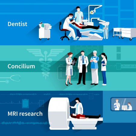 Illustration for Medical care professional concilium 3 horizontal banners set with dentist and mri scan abstract isolated vector illustration - Royalty Free Image