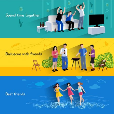 Friends buddies 3 horizontal banners set