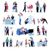 Rodičovství rodinné situace ploché ikony nastavit